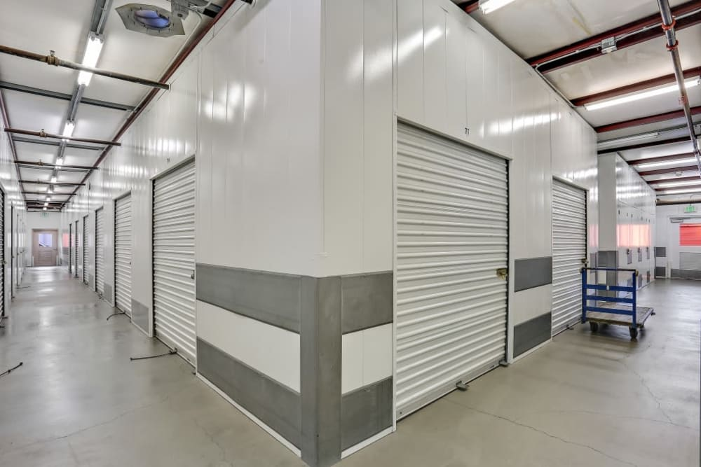 Indoor storage units at A-1 Self Storage in Huntington Beach, California