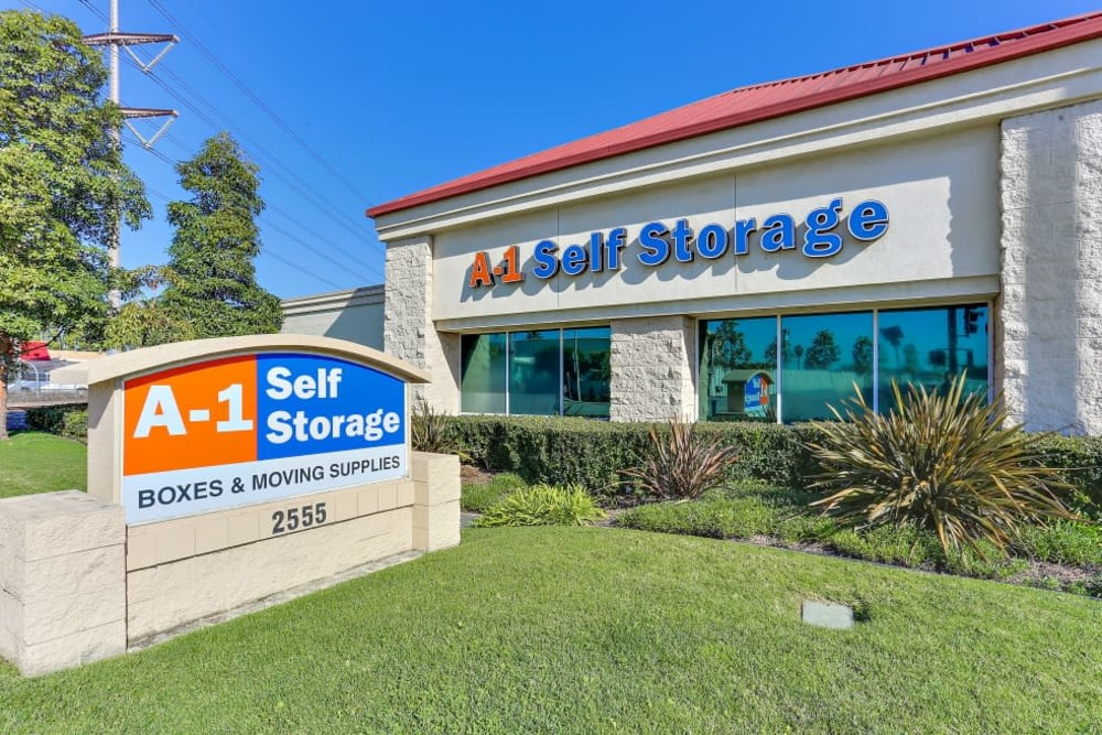 The sign & front entrance of A-1 Self Storage in Santa Ana, California