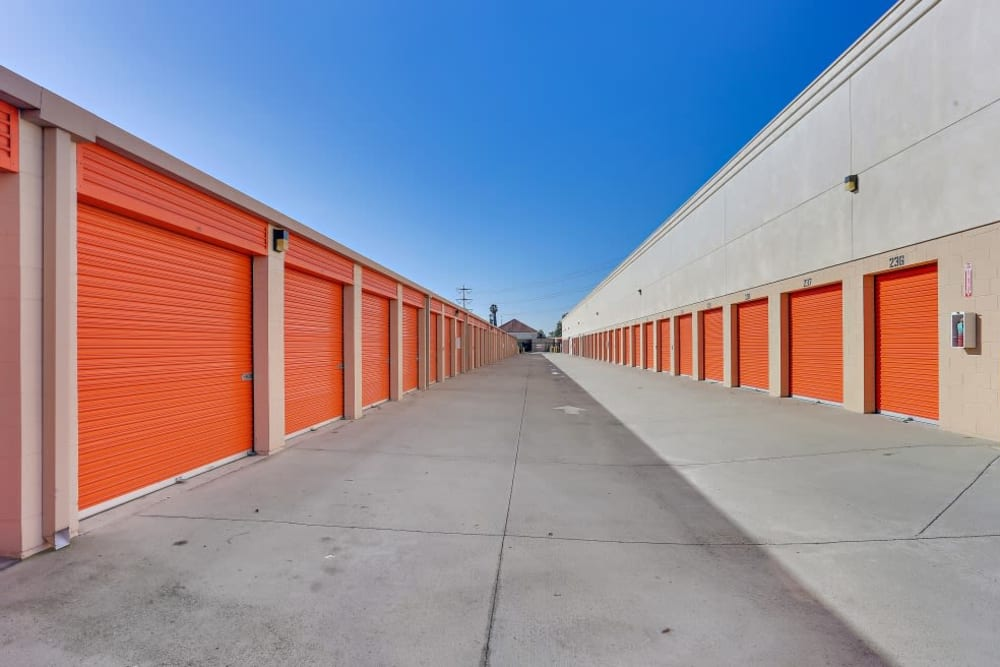 Outdoor storage units and a wide driveway at A-1 Self Storage in Santa Ana, California