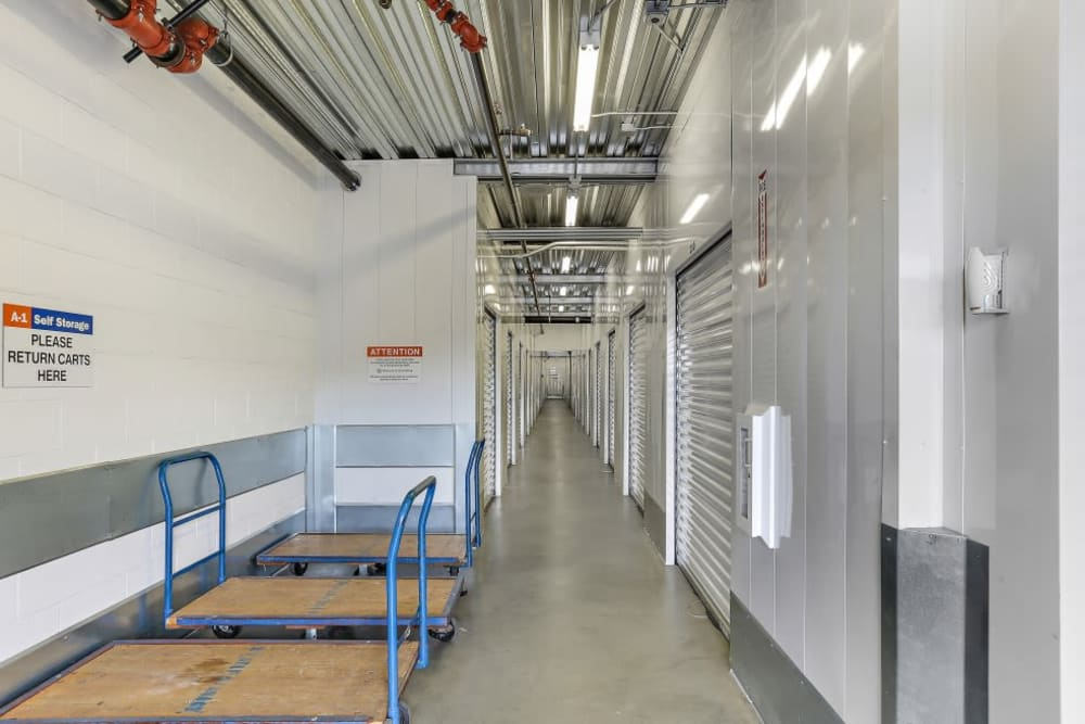 A row of indoor storage units at A-1 Self Storage in San Juan Capistrano, California
