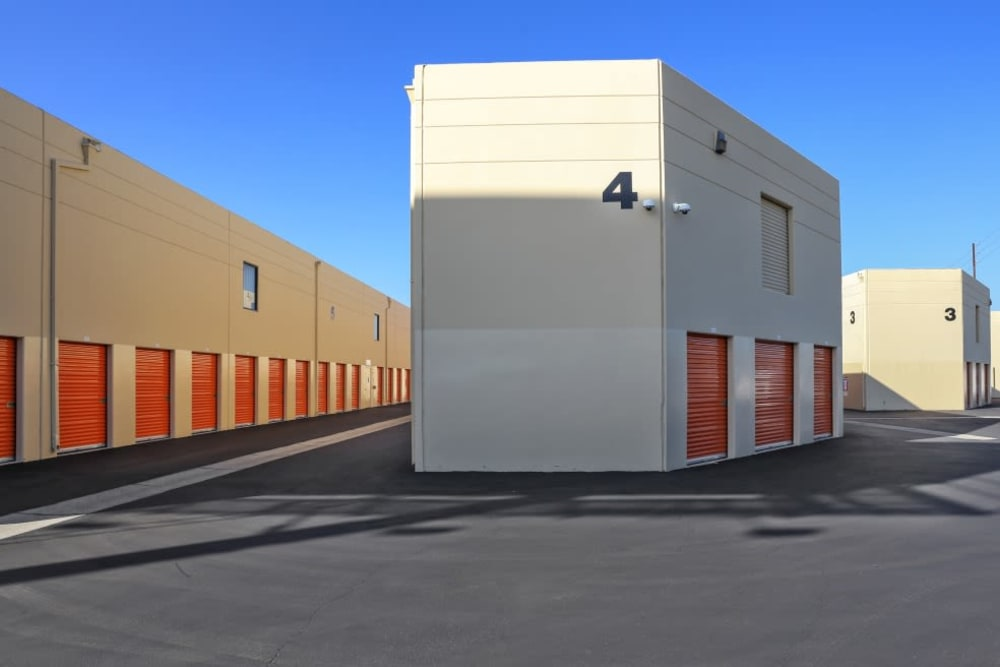 Rows of outdoor storage units at A-1 Self Storage in Fountain Valley, California