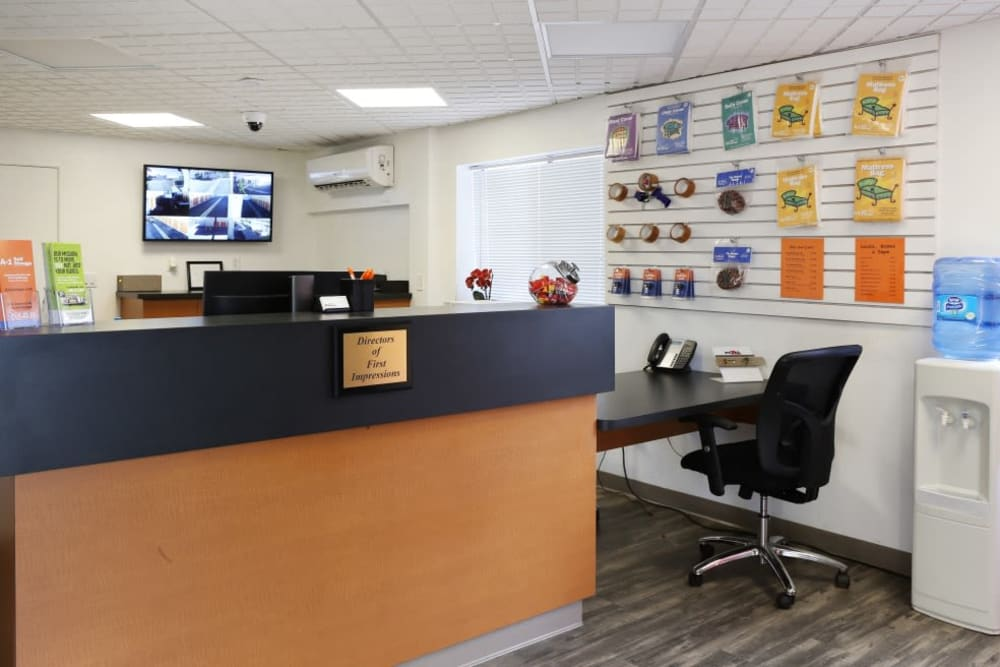 The office at A-1 Self Storage in Fountain Valley, California