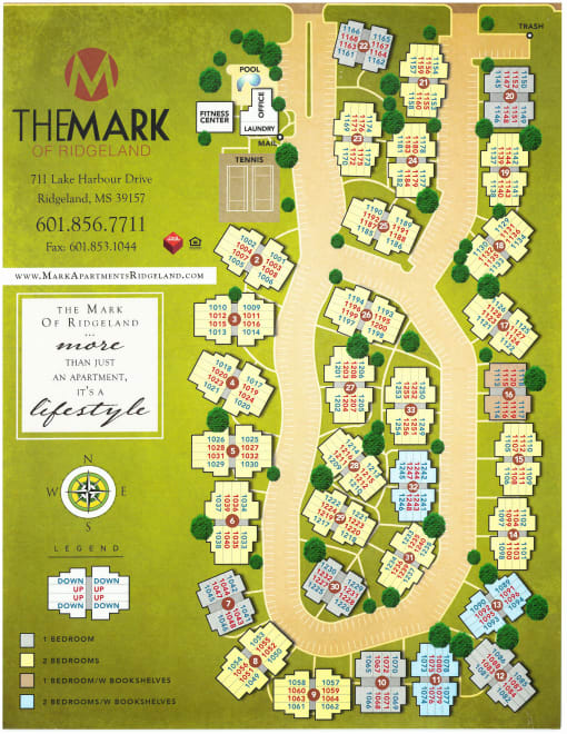 Site map for The Mark Apartments in Ridgeland, Mississippi
