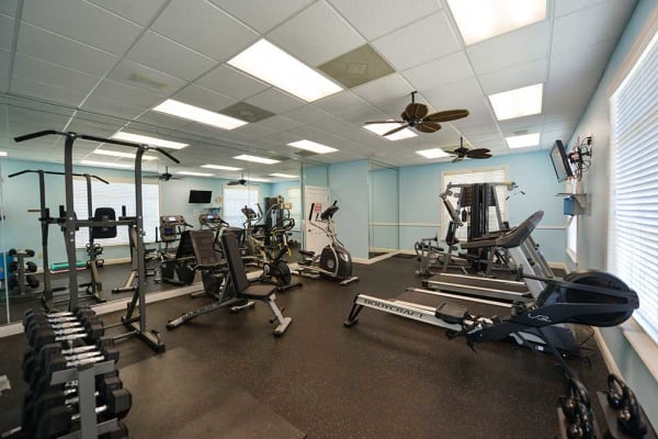 Fully equipped fitness center at Ocean Park of Ponte Vedra in Jacksonville Beach, Florida