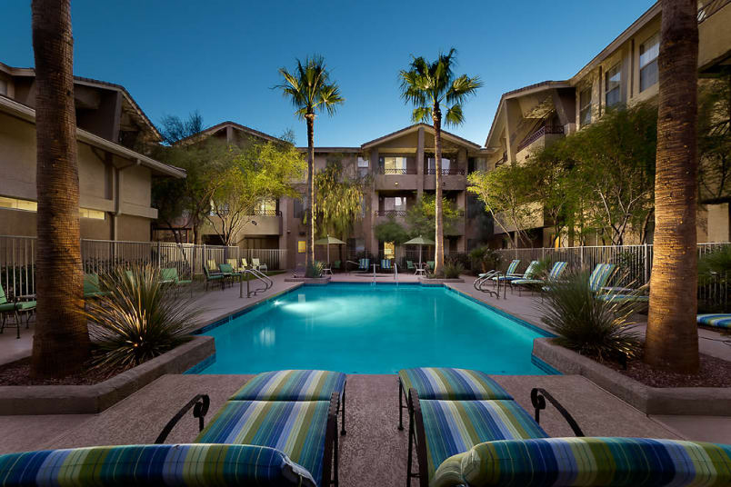 Pool view at McDowell Village in Scottsdale, AZ