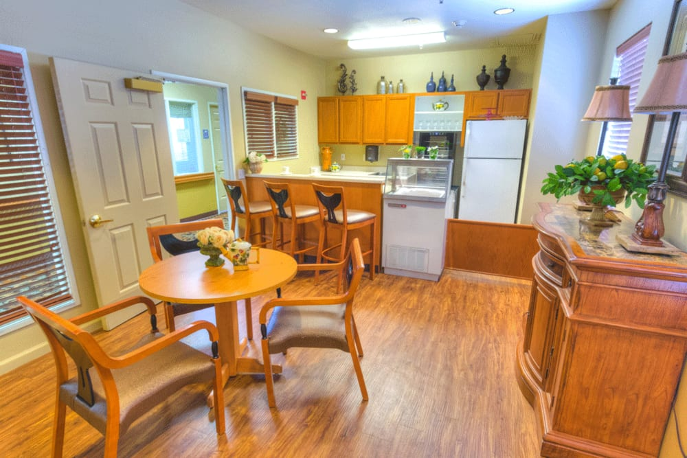 Kitchen in senior living apartment at The Meadows - Assisted Living in Elk Grove, California