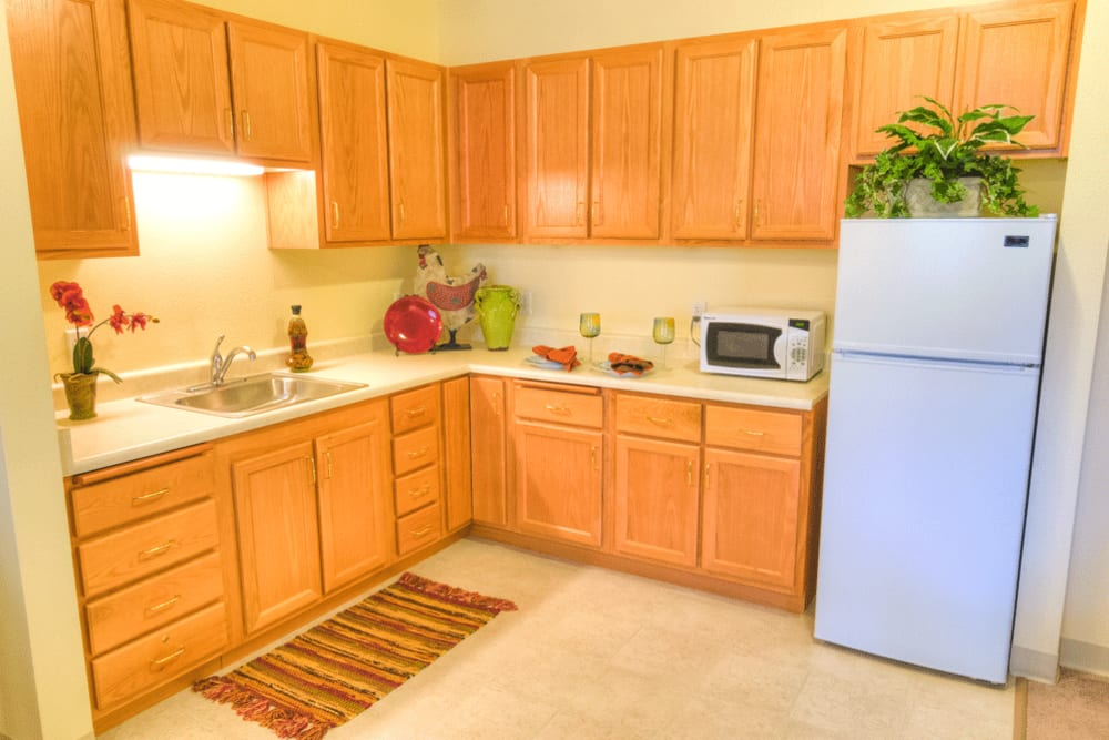 Kitchen in assisted living apartment at The Meadows - Assisted Living in Elk Grove, California