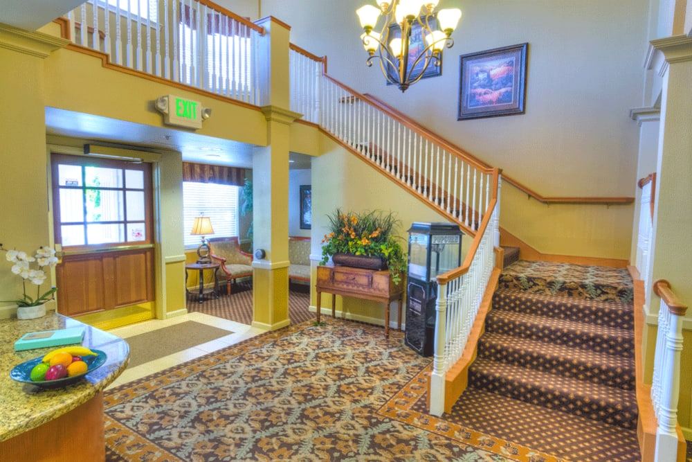 front entrance and lobby at The Meadows - Assisted Living in Elk Grove, California