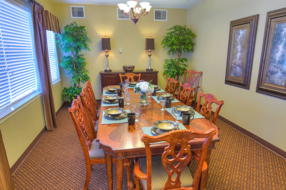 Private dining room at The Meadows - Assisted Living in Elk Grove, California