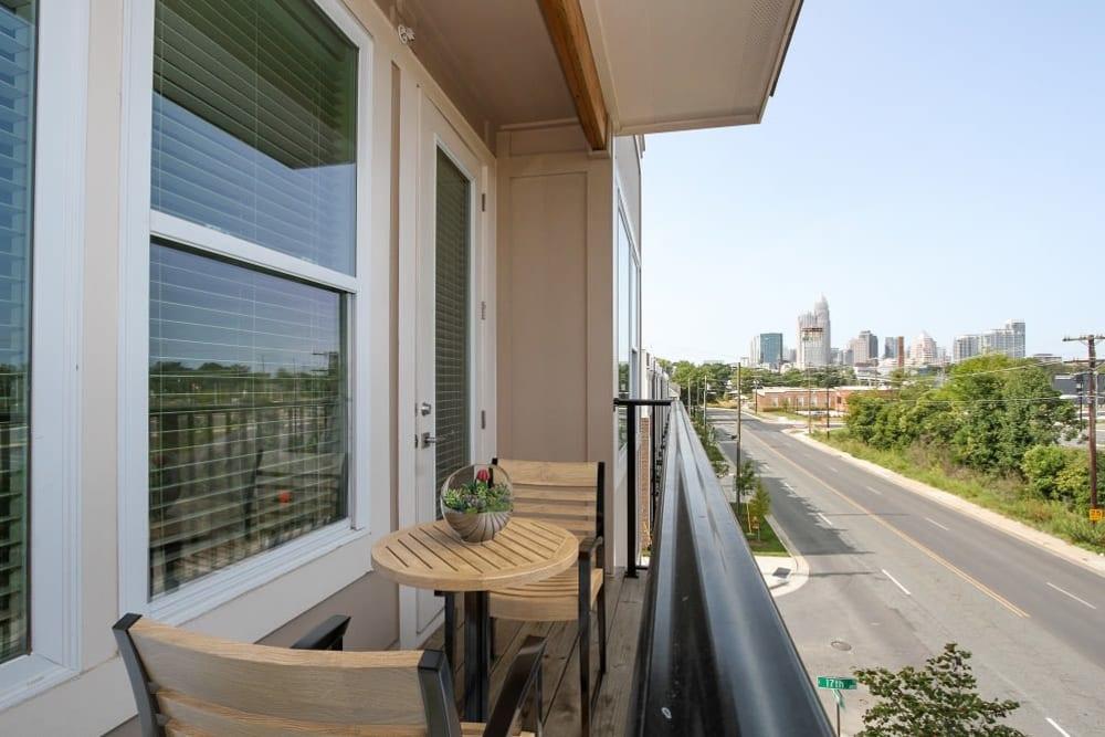 Private balcony at 300 Optimist Park in Charlotte, North Carolina