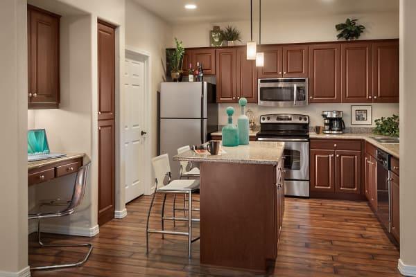 Kitchen with desk area at San Norterra in Phoenix, Arizona