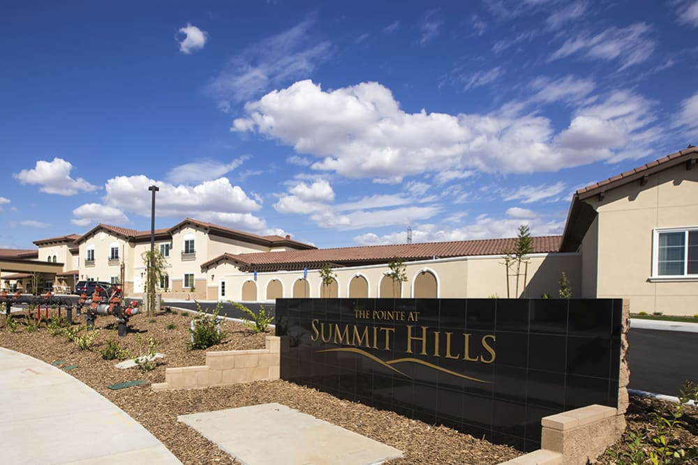 The Pointe at Summit Hills sign in Bakersfield, California.