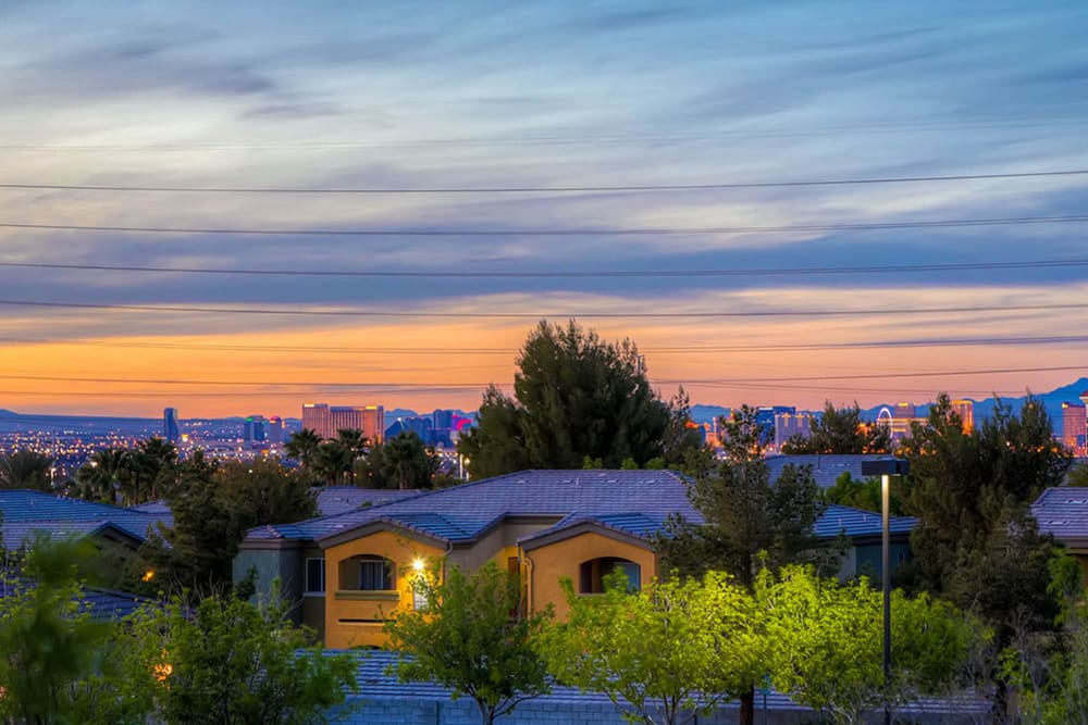 Sunset views at Merrill Gardens at Siena Hills in Henderson, Nevada.
