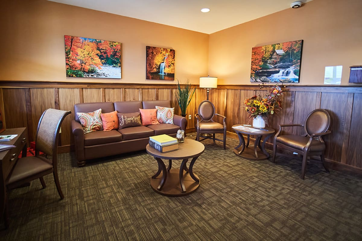Seating area at New Dawn Memory Care in Colorado Springs, Colorado