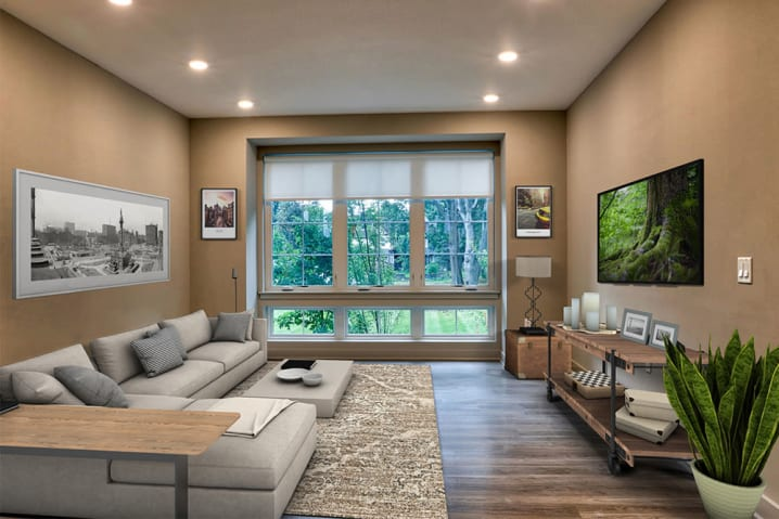 Spacious living room at 933 the U in Rochester, New York