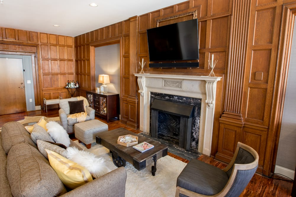 Stylish wood paneling is a feature of this apartment at The Reserve at 4th and Race in Cincinnati, Ohio