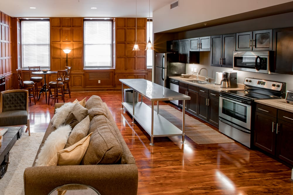Spacious open format living space in an apartment at The Reserve at 4th and Race in Cincinnati, Ohio