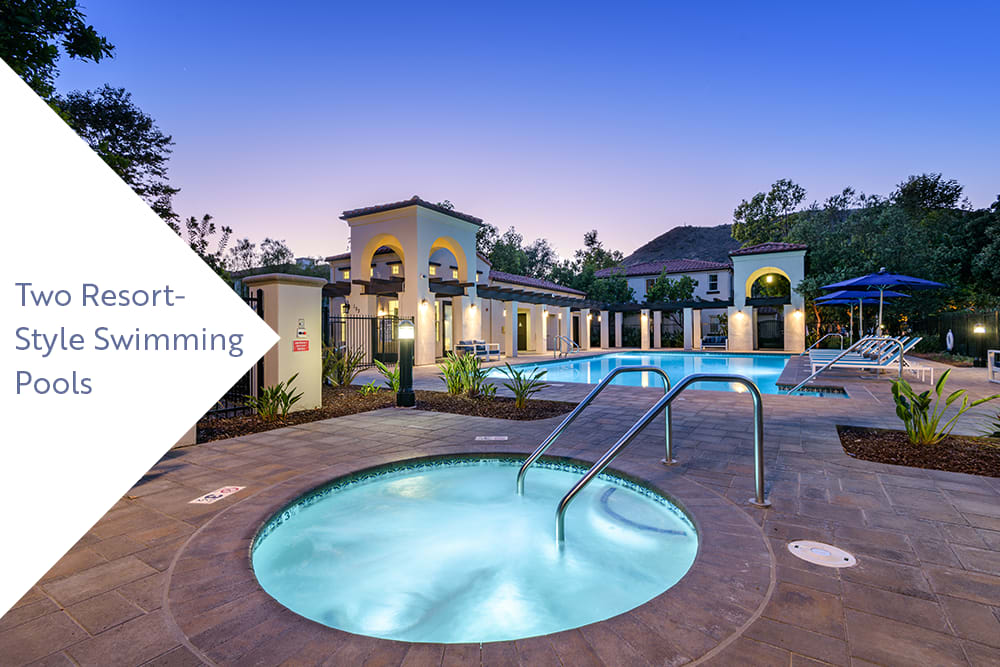 Spa and swimming pool area at twilight at Mission Hills in Camarillo, California