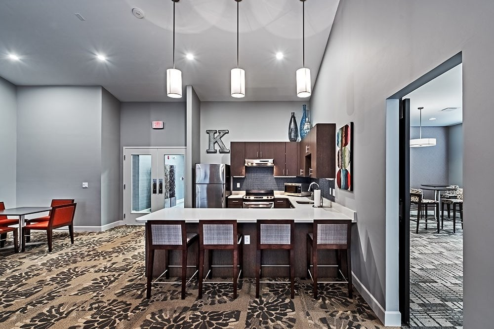 Community kitchen that is great for entertaining at apartments in Aliquippa, Pennsylvania