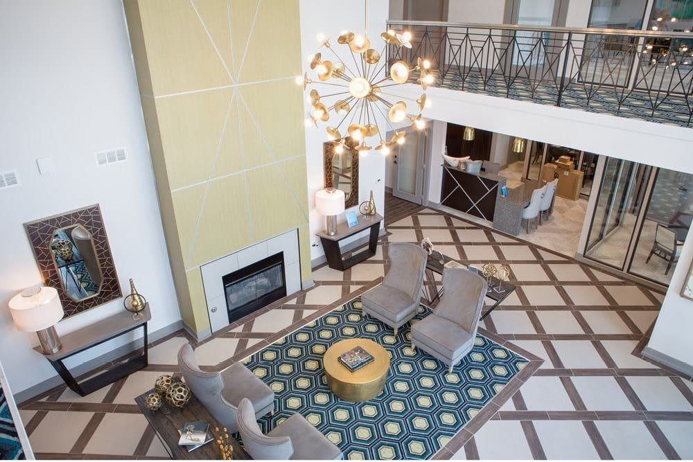 Aerial view of lounging space at The Spring at Silverton in Fort Worth, Texas