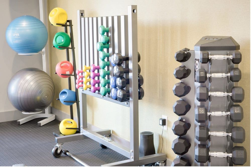 Dumbbell assortment at The Spring at Silverton in Fort Worth, Texas