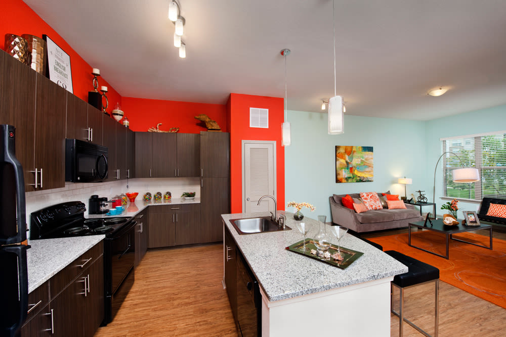 Perimeter Lofts offers a spacious kitchen in Charlotte, North Carolina