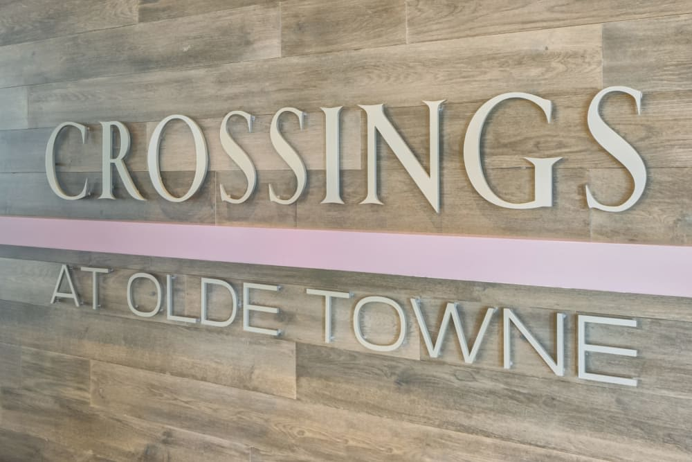 Crossings at Olde Towne front entrance signage