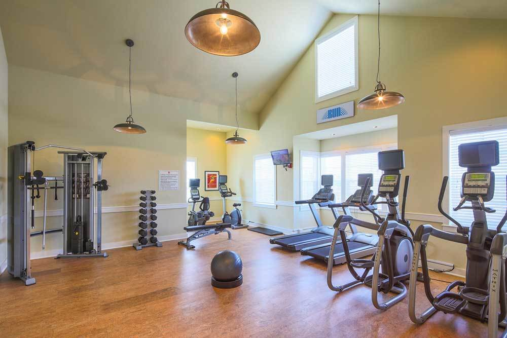 A spacious community gym at Traditions at Mid Rivers in Cottleville, Missouri