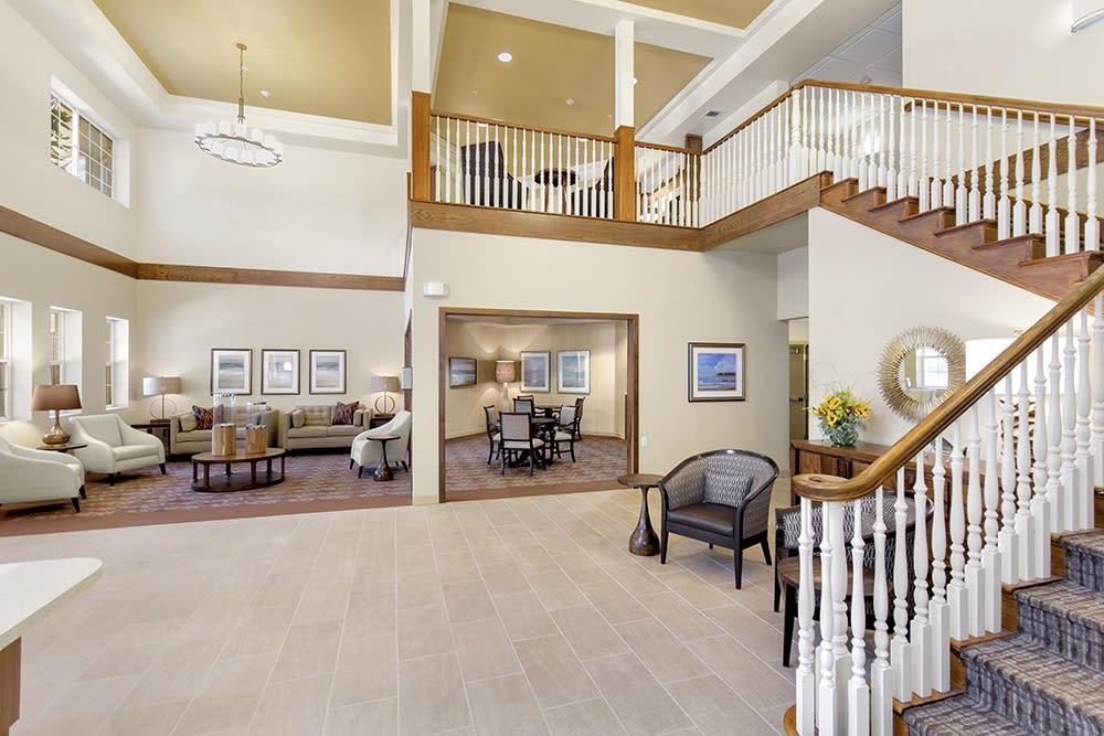 Staircase in the lobby at Merrill Gardens at Oceanside in Oceanside, California.