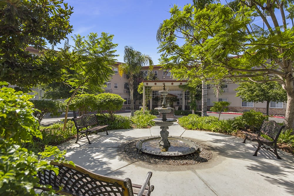 The fountain at Merrill Gardens at Oceanside in Oceanside, California.