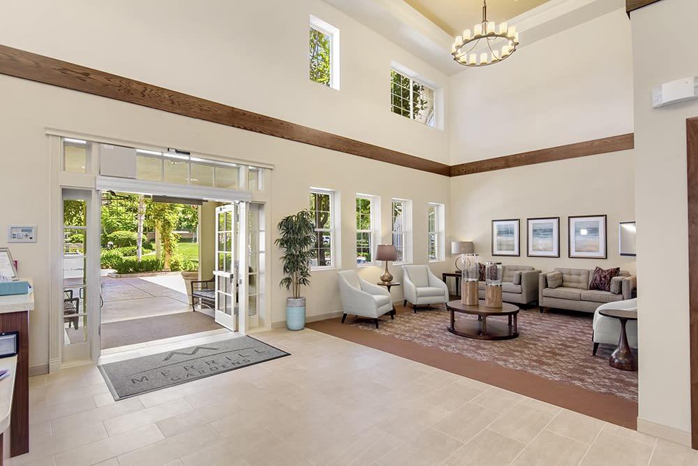 Entrance into the lobby at Merrill Gardens at Oceanside in Oceanside, California.