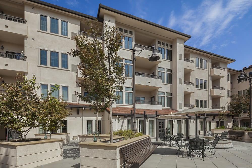 The back patio at Merrill Gardens at Willow Glen in San Jose, California.