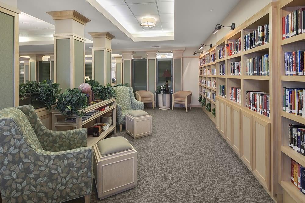Resident library at Merrill Gardens at Willow Glen in San Jose, California.