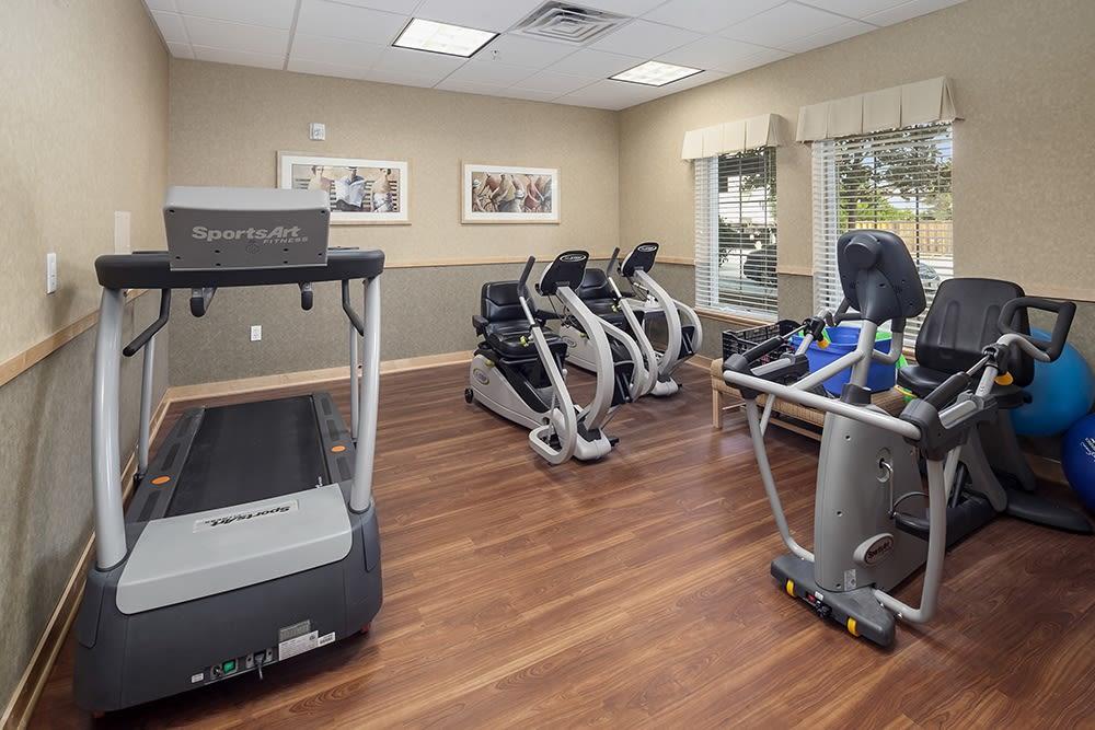 Fitness room at Merrill Gardens at Willow Glen in San Jose, California.
