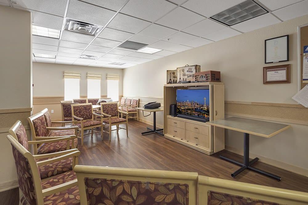 Tv room at Merrill Gardens at Willow Glen in San Jose, California.