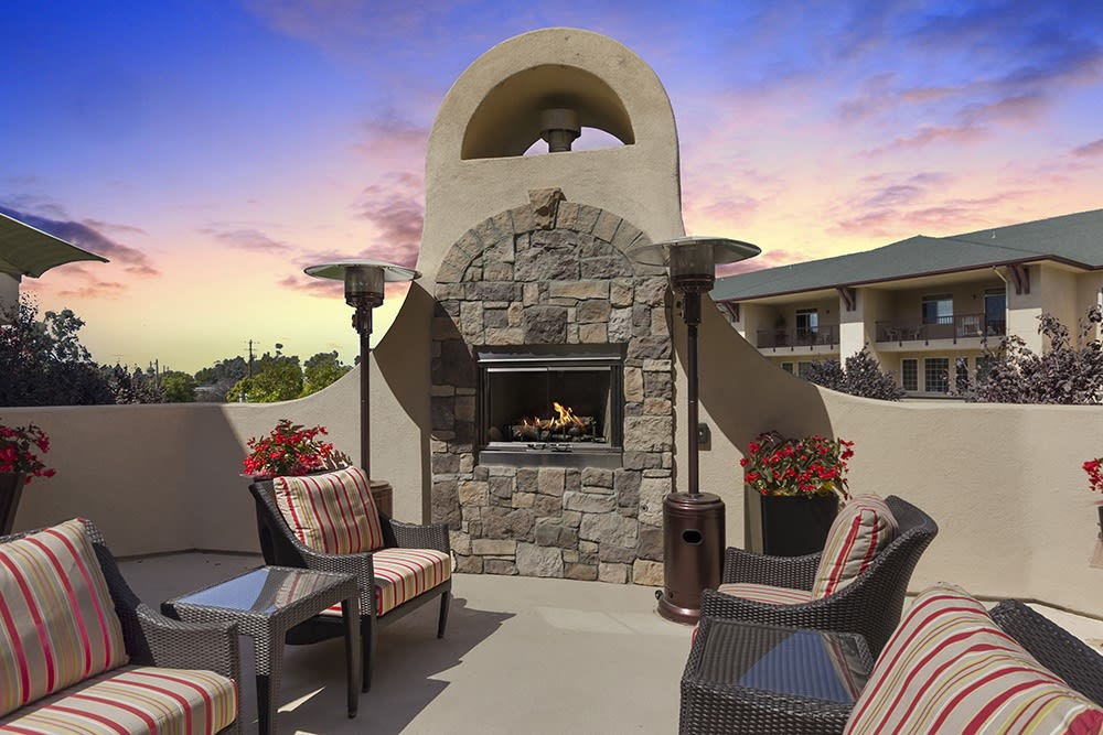 Outdoor fireplace at Merrill Gardens at Santa Maria in Santa Maria, California