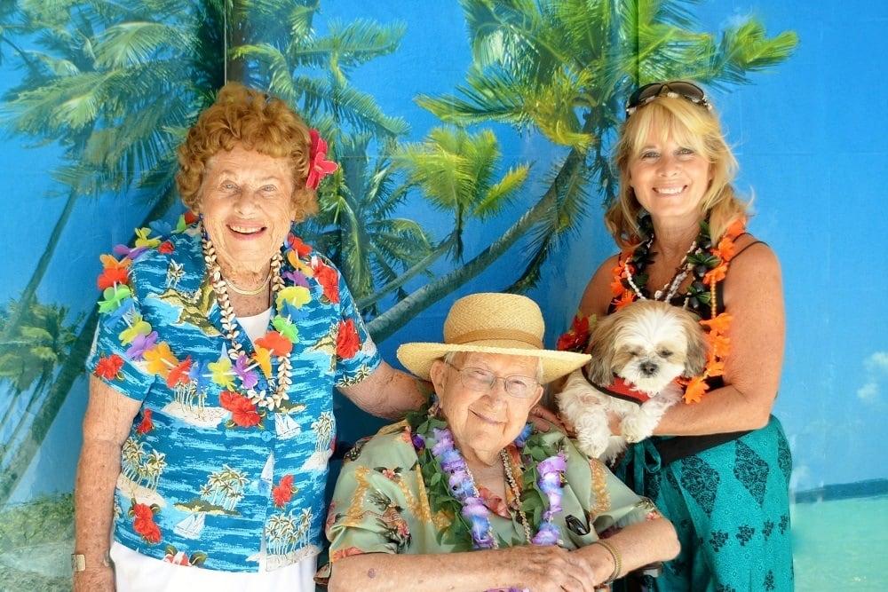 Enjoying the Hawaiian party at Merrill Gardens at Santa Maria in Santa Maria, California.