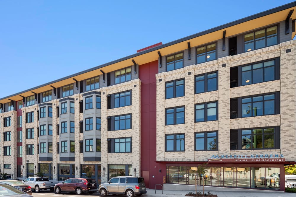 Exterior of main building at Merrill Gardens at Rockridge in Oakland, California.