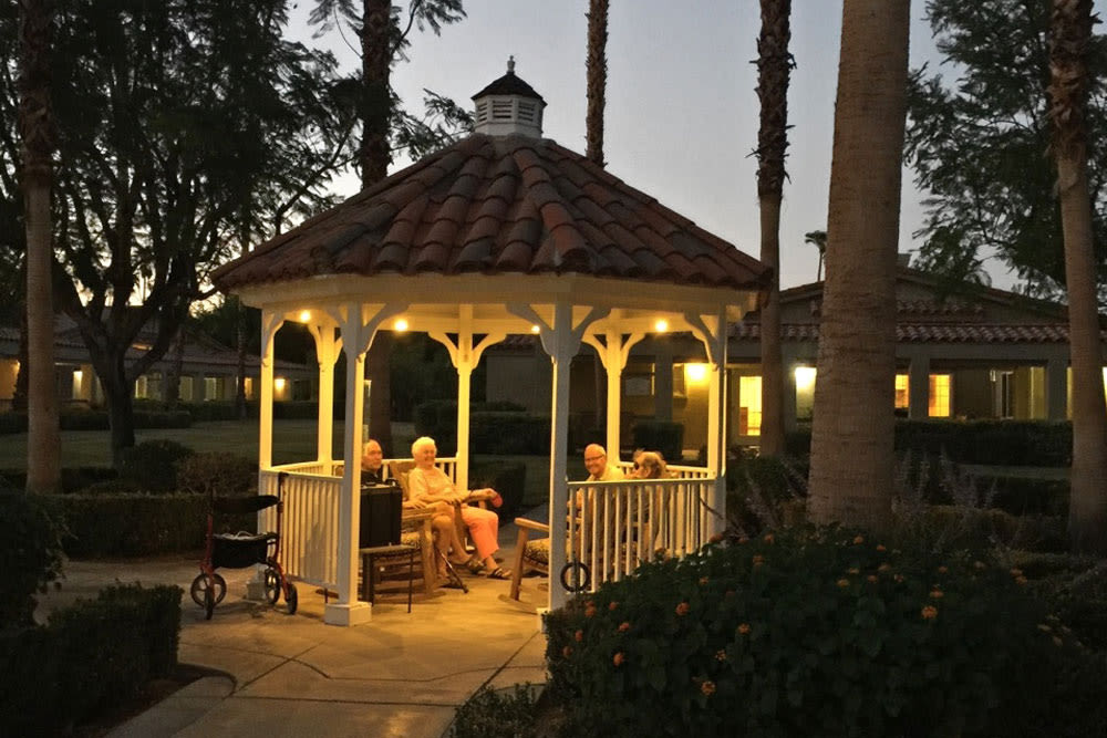 Outdoor gazette at Pacifica Senior Living Palm Springs in Palm Springs, California