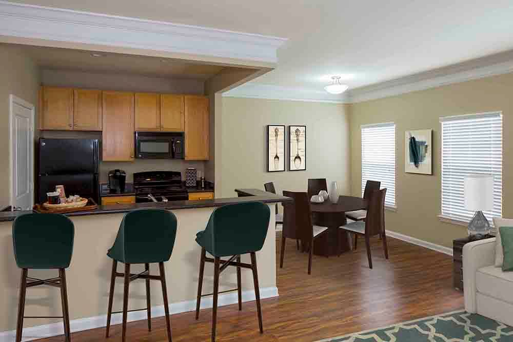 Kitchen and dining room at Atkins Circle Apartments