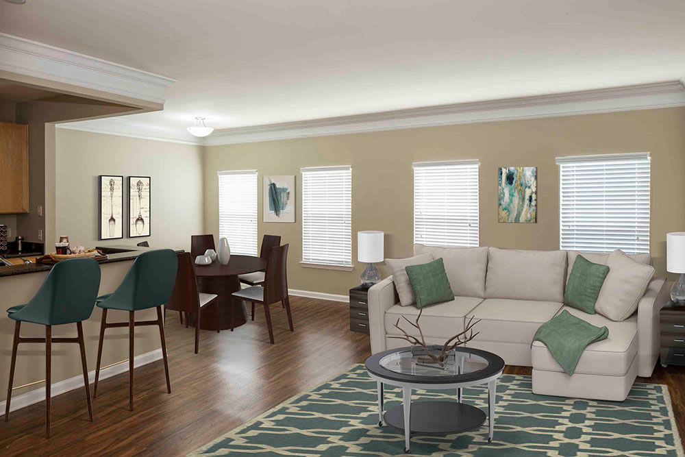 Bright inviting living room at Atkins Circle Apartments