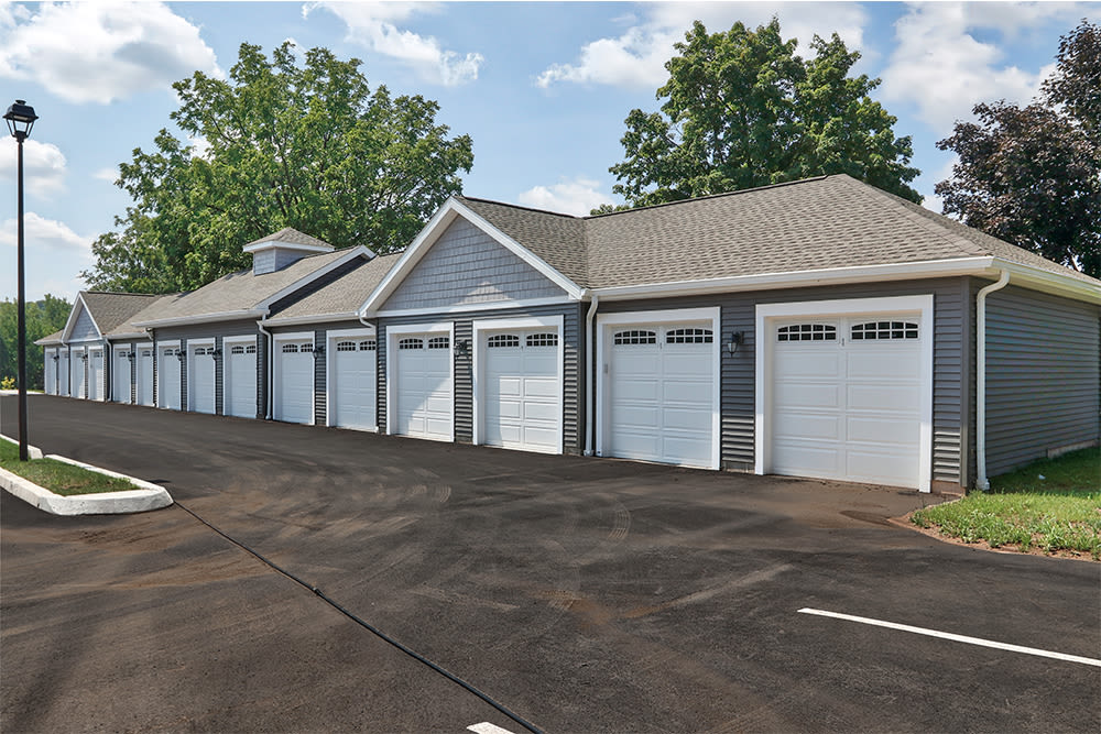 Garages available at Village Heights Senior Apartments in Fairport, New York