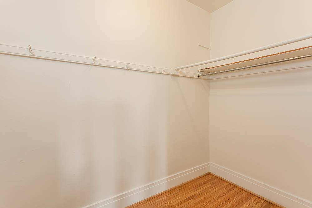 Large walk in closet at Colby, Carlton, and Colby Park Apartments