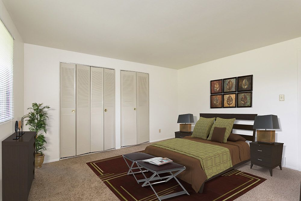 Bedroom at High Acres Apartments and Townhomes in Syracuse