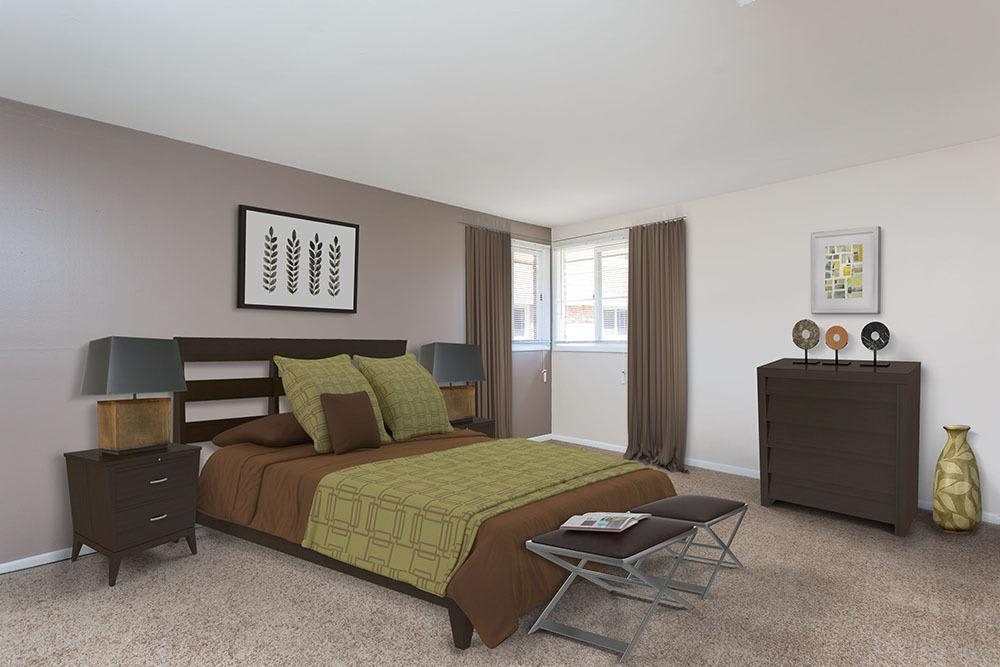 Well decorated bedroom at Raintree Island Apartments in Tonawanda