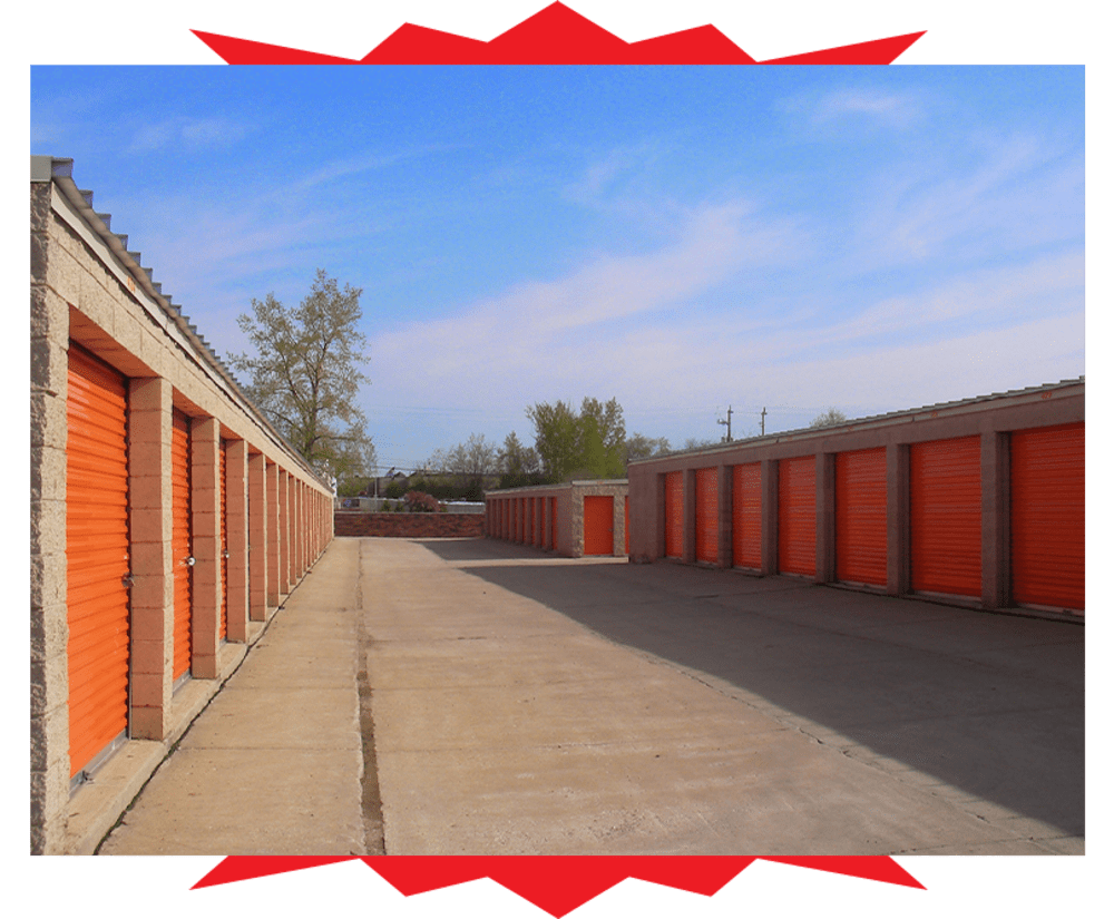 Driveway through our storage units in Kenosha, Wisconsin at Barth Storage - 60th Ave