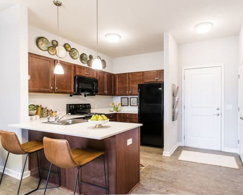 Bright, spacious kitchen at Villa Capri Apartments in Rochester, New York