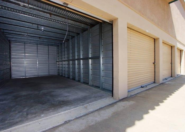 A driveway between storage units at Olivenhain Self Storage in Encinitas, California