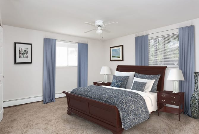 Spacious bedroom at Long Pond Gardens Senior Apartments in Rochester, New York