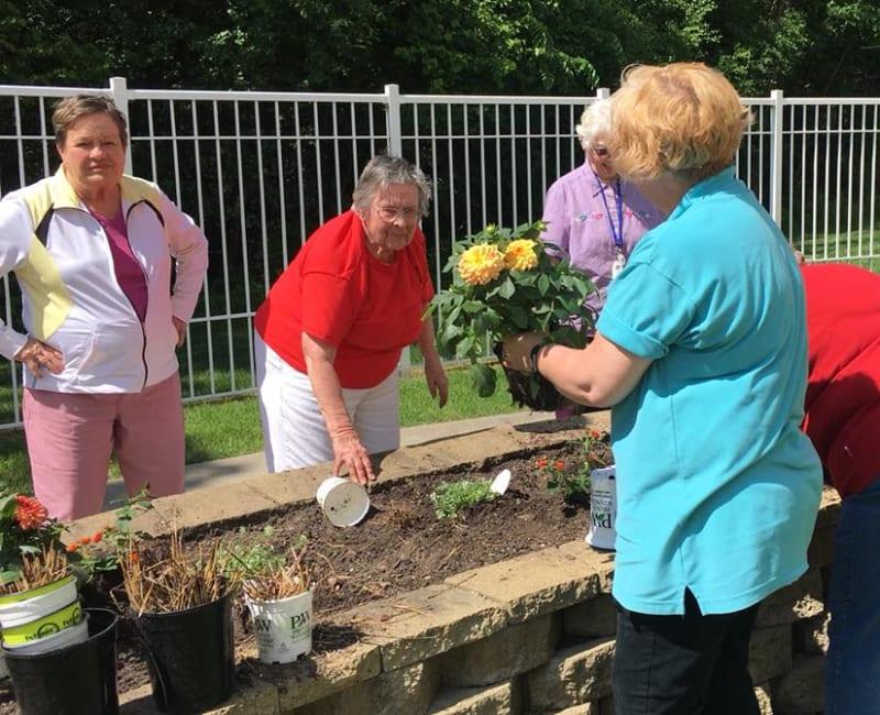 Residents planting flowers at Deer Crest Senior Living in Red Wing, Minnesota